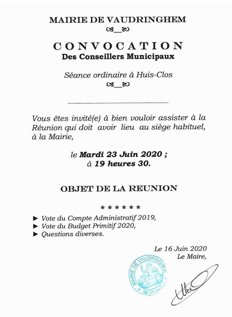 Convoc cm 23 juin 2020