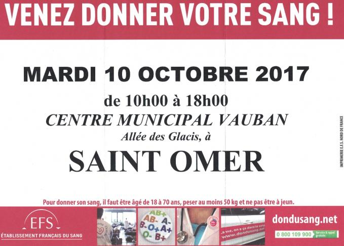 Don du sang 10 octobre