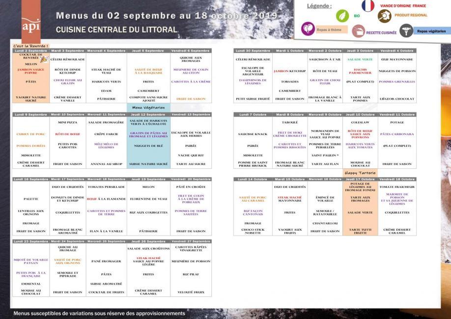 Menus scolaires API Littoral