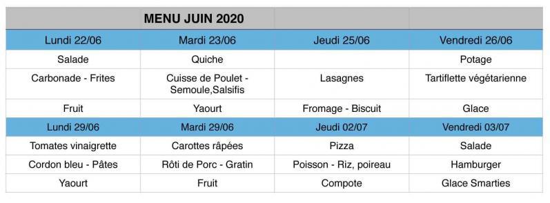 Restauration scolaire 2020 juin 2020
