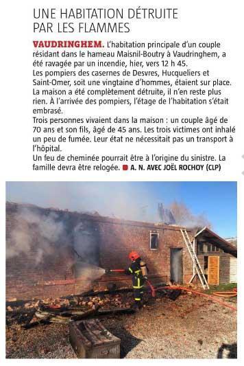Vaudringhem incendie